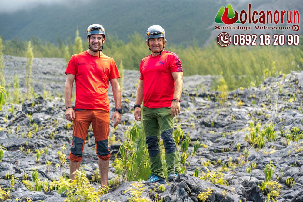 Les deux vrai spécialiste de la spéléologie à l'île de La Réunion sur les anciennes coulées de lave